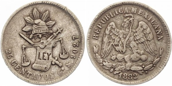 Mexico 25 Centavos 1882 - Republik