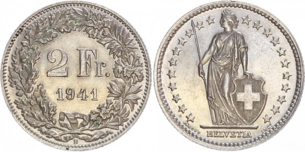 Schweiz 2 Franken 1941 B Kursmünze