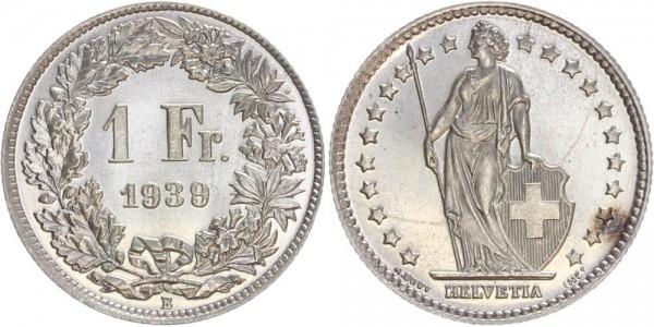 Schweiz 1 Franken 1939 B Kursmünze