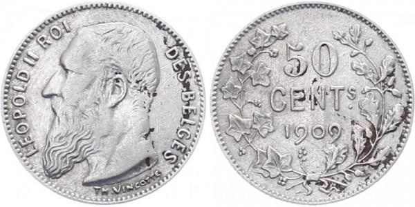 Belgien 50 cent 1909 - Leopold II.