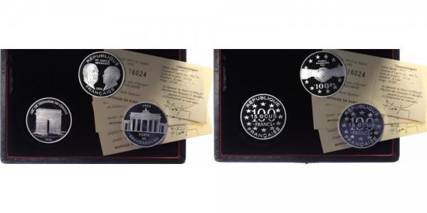 Frankreich 100 Francs/ 15 Ecus 1993 - Brandenburger Tor, Adenauer, Arc de Triomphe