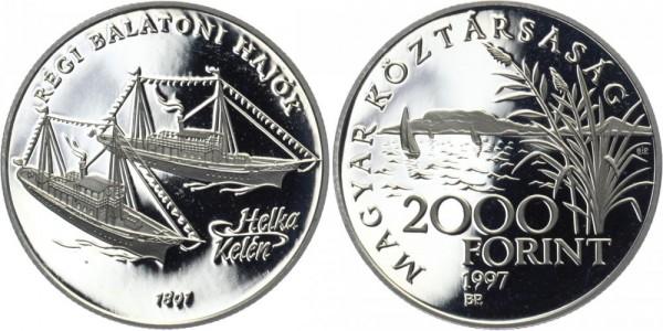 """UNGARN 2000 Forint 1997 - Balaton Schiffe """"Helka"""" und """"Kelén"""""""