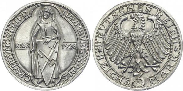 Weimarer Republik 3 Mark 1928 A Naumburg an der Saale