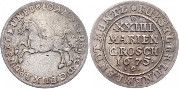Braunschweig Calenberg Hannover 24 Mariengroschen 1675 - Johann Friedrich 1665-1679