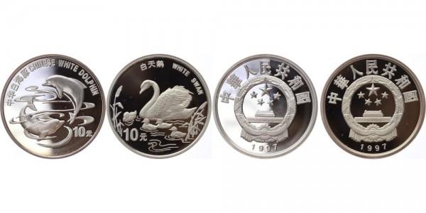 China 2x10 Yuan 1997 - Weißer Schwan und weißer Delphine