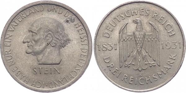 Weimarer Republik 3 Reichsmark 1931 A Stein