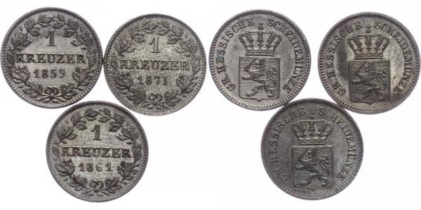 Hessen 3x 1 Kreuzer 1859-1871 - LOT