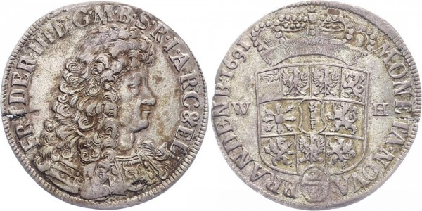Bradenburg-Preußen ⅔ Taler 1691 - Friedrich III.