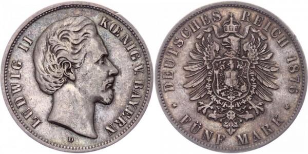 Bayern 5 Mark 1876 D Ludwig II. 1864 - 1886