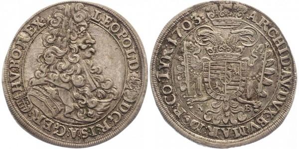 Haus Habsburg 1/2 Taler 1703 Kremnitz Leopold I.