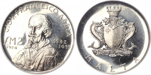 Malta 2 Liri 1974 - Francesco Abela