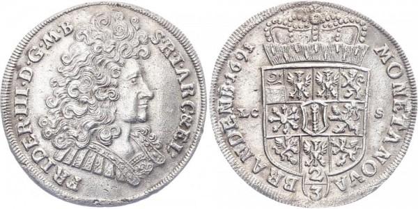 Brandenburg-Preußen ⅔ Taler 1691 - Friedrich III.