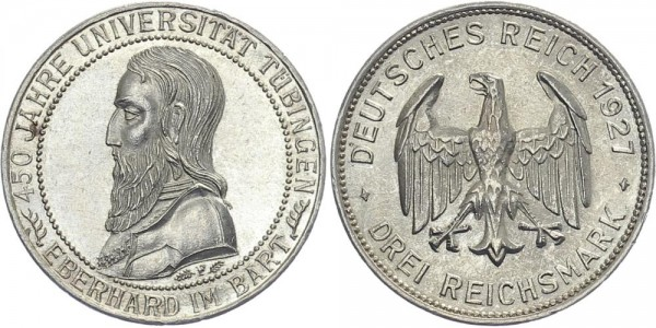 Weimarer Republik 3 Mark 1927 F Uni Tübingen