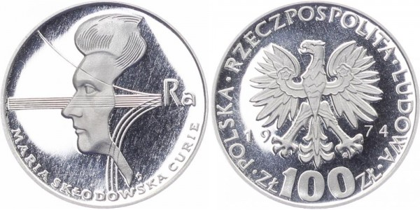 Polen 100 Zlotych 1974 - 40. Todestag Marie Curie