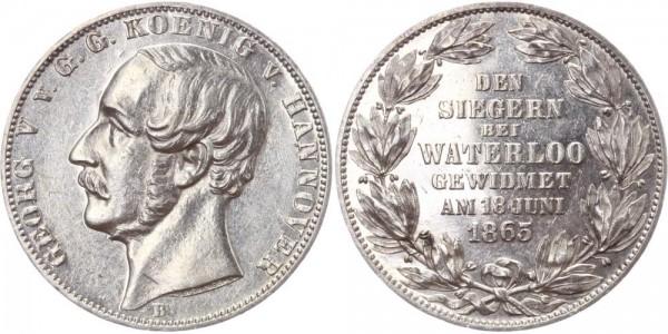 Hannover Taler 1865 - Georg V., Sieg bei Waterloo