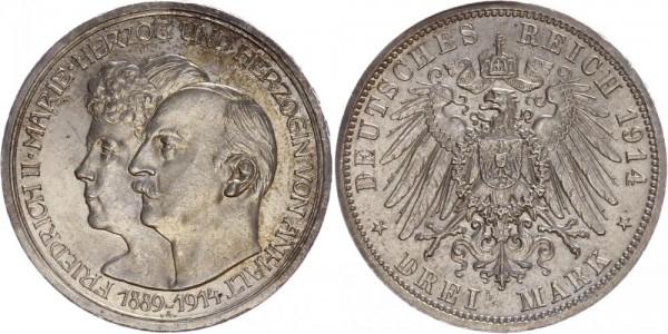 Anhalt 3 Mark 1914 - Silberhochzeit