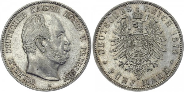PREUSSEN 5 Mark 1874 A Wilhelm I.