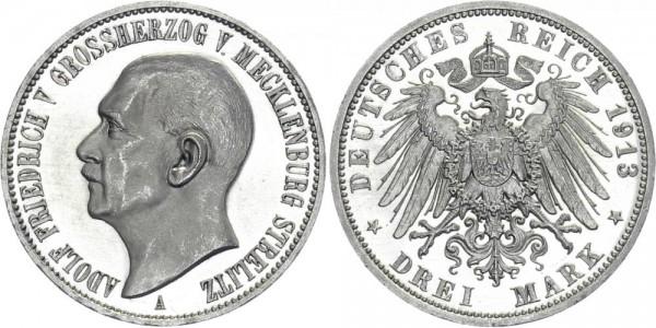 MECKLENBURG-STRELITZ 3 Mark 1913 A Friedrich Franz II.