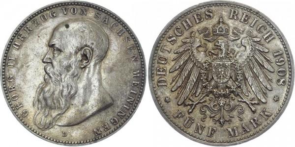 SACHSEN-MEININGEN 5 Mark 1908 D Georg II.