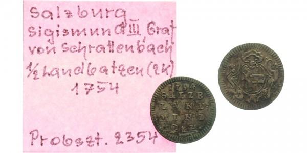 Salzburg 1/2 Landbatzen 1754 - Erzbistum Sigismund III. von Schrattenbach