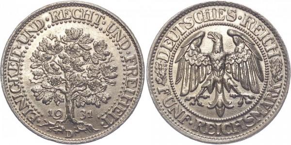 Weimarer Republik 5 Reichsmark 1931 D Eichbaum