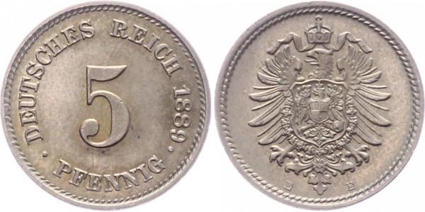 Deutsches Reich 5 Pfennig 1889 E Kursmünze