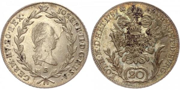 Österreich/Habsburg 20 Kreuzer 1787 B Joseph II.