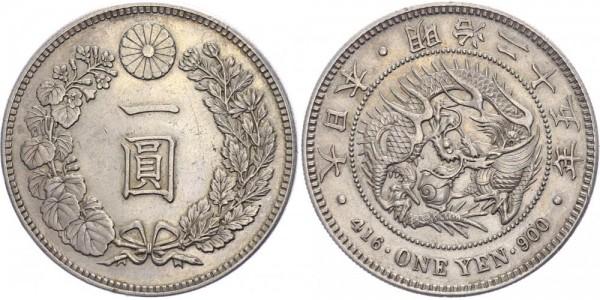 Japan 1 Yen 1892 (Jahr 25) - Kaiser Mitsuhito (Meiji), 1867-1912