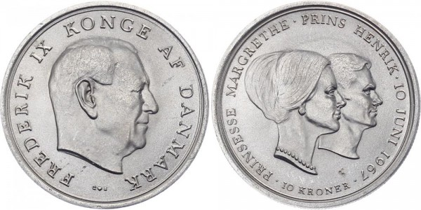 Dänemark 10 Kronen 1967 - Prinzessin Margarethe & Prinz Henrik