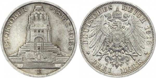 SACHSEN 3 Mark 1913 E Friedrich August III. Völkerschlachtdenkmal