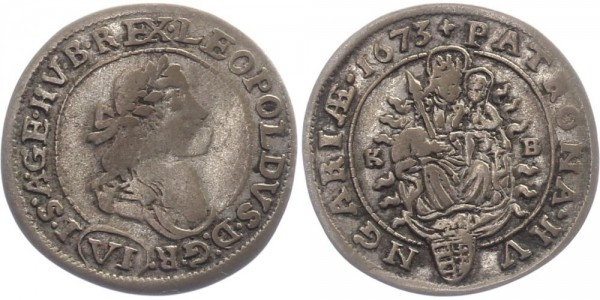 Haus Habsburg 6 Kreuzer 1673 - Leopold I.