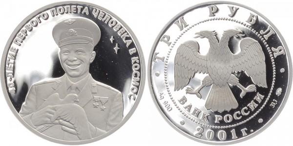 Russland 3 Rubel 2001 - Juri Gagarin