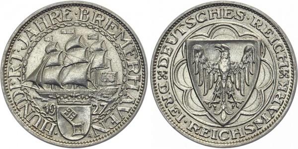Weimarer Republik 3 Mark 1927 A Bremerhaven