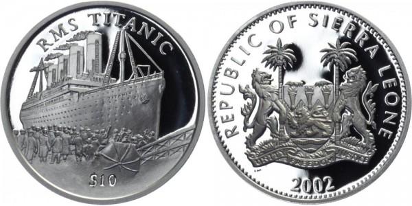 SIERRA LEONE 10 Dollars 2002 - RMS Titanic