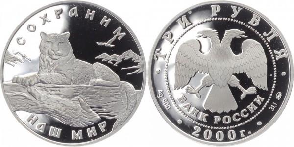 Russland 3 Rubel 2000 - Schneeleopard