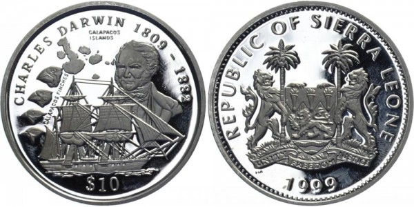 SIERRA LEONE 10 Dollar 1999 - Charles Darwin