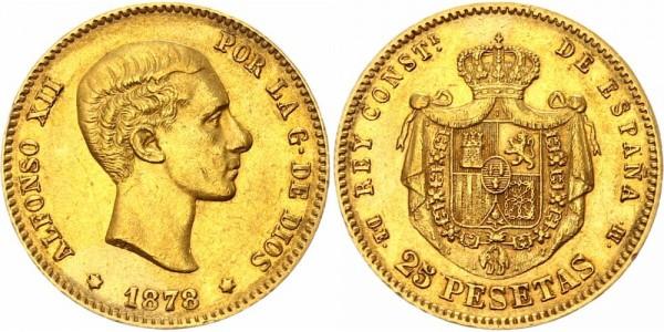 Spanien 25 Pesetas 1878 - Alfonso XII.