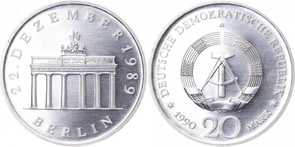 DDR 20 Mark 1990 Berlin Brandenburger Tor