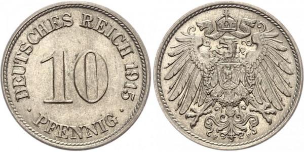 Kaiserreich 10 Pfennig 1915 F Kursmünze