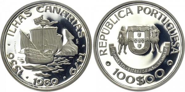 PORTUGAL 100 ESC 1989 - Kanarische Inseln