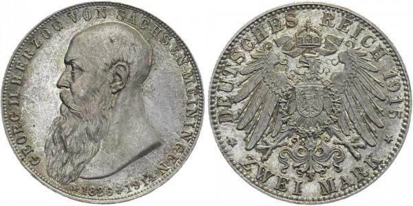 SACHSEN-MEININGEN 2 Mark 1915 D Georg II. Auf den Tod