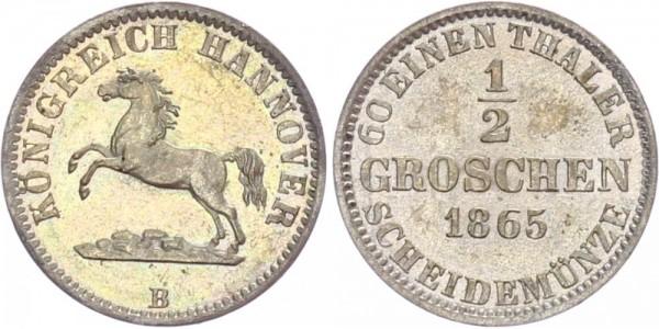 Hannover 1/2 Groschen 1865 B Kursmünze