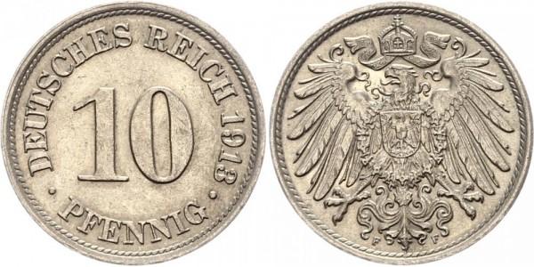 Kaiserreich 10 Pfennig 1913 F Kursmünze