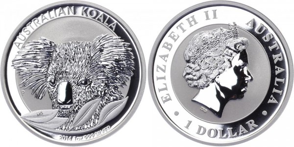 Australien 1 Dollar 2014 - Koala - Lunar Serie
