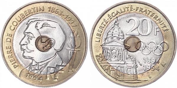 Frankreich 20 Francs 1994 - Pierre de Coubertin