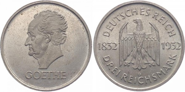 Weimarer Republik 3 Reichsmark 1932 D Goethe