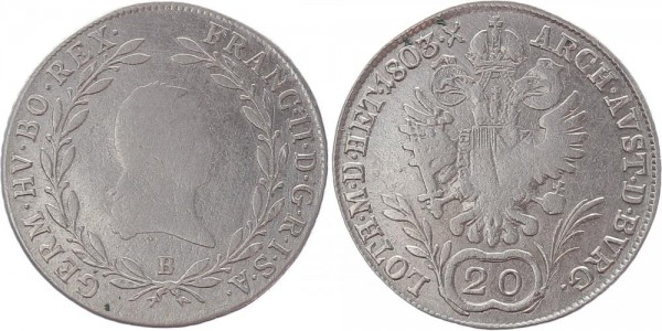 Haus Habsburg 20 Kreuzer 1803 - Franz II.