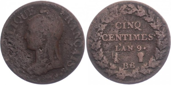 Frankreich 5 Centimès 1800/01 - Kursmünze