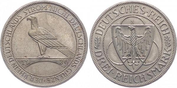 Weimarer Republik 3 Reichsmark 1930 E Rheinland-Räumung