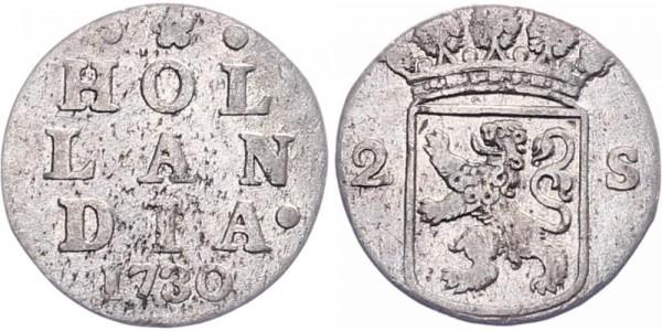 Niederlanden 2 Stuivers 1730 - Kursmünze